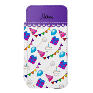 Name white birthday bunting cake hat balloons wallet case for iPhone SE/5/5s