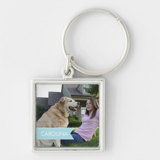 Name White Blue Banner Personalized Photo Key Chains