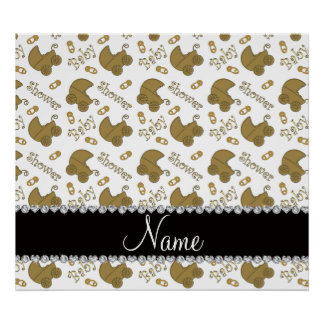 Name white gold baby carriages pins baby shower poster