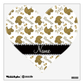 Name white gold baby carriages pins baby shower room decals