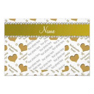 Name white gold hearts bachelorette party photo print