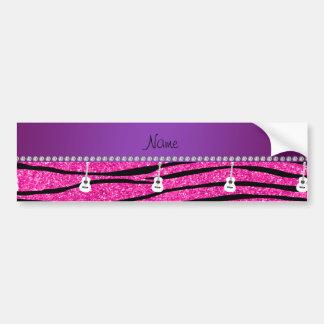 Name white guitar hot pink glitter zebra stripes car bumper sticker