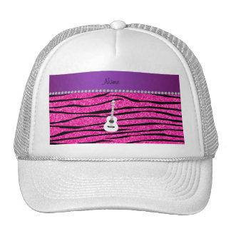 Name white guitar hot pink glitter zebra stripes mesh hats
