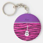 Name white guitar hot pink glitter zebra stripes basic round button keychain