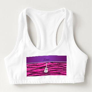 Name white guitar hot pink glitter zebra stripes sports bra