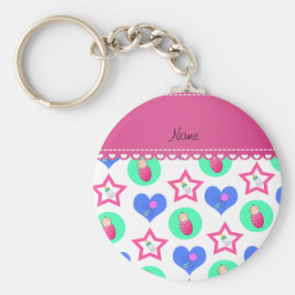 Name white hearts dots stars baby rattle bottle basic round button keychain