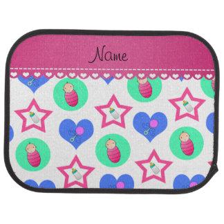 Name white hearts dots stars baby rattle bottle car floor mat