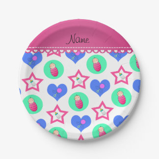 Name white hearts dots stars baby rattle bottle paper plate