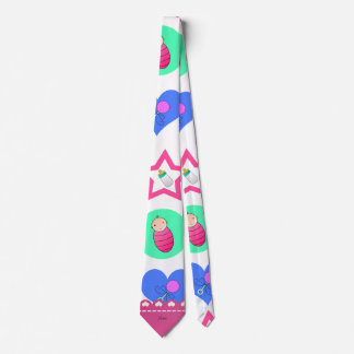 Name white hearts dots stars baby rattle bottle tie