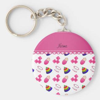 Name white pink baby blocks mobile toys basic round button keychain