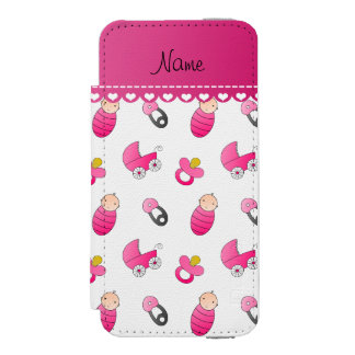 Name white pink baby pin carriage pacifier wallet case for iPhone SE/5/5s