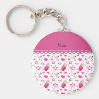 Name white pink baby stork hearts stars basic round button keychain
