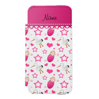 Name white pink baby stork hearts stars iPhone SE/5/5s wallet case