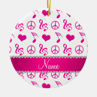 Name white pink music notes hearts peace sign ceramic ornament