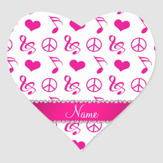 Name white pink music notes hearts peace sign heart sticker