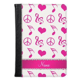 Name white pink music notes hearts peace sign kindle case