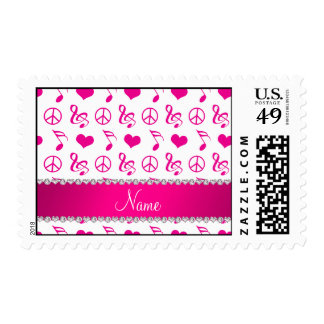 Name white pink music notes hearts peace sign postage