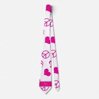 Name white pink music notes hearts peace sign tie