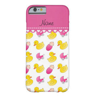 Name white pink rubberduck baby carriage barely there iPhone 6 case