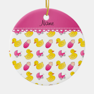 Name white pink rubberduck baby carriage ceramic ornament