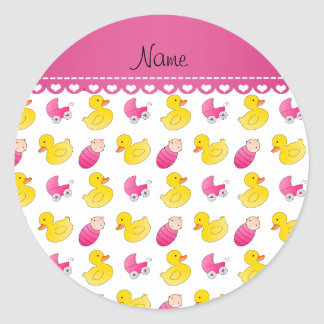 Name white pink rubberduck baby carriage classic round sticker