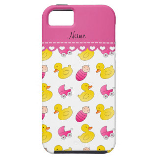 Name white pink rubberduck baby carriage iPhone SE/5/5s case