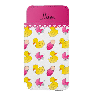 Name white pink rubberduck baby carriage iPhone SE/5/5s wallet case