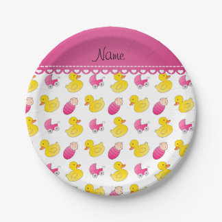 Name white pink rubberduck baby carriage paper plate