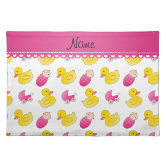 Name white pink rubberduck baby carriage placemat