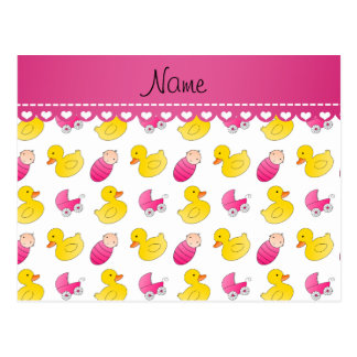 Name white pink rubberduck baby carriage postcard
