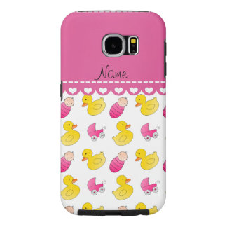 Name white pink rubberduck baby carriage samsung galaxy s6 case