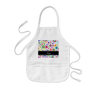 Name white transparent colorful retro flowers kids' apron
