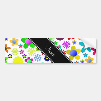 Name white transparent colorful retro flowers bumper stickers
