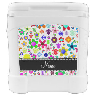 Name white transparent colorful retro flowers igloo roller cooler