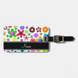Name white transparent colorful retro flowers luggage tags