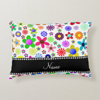 Name white transparent colorful retro flowers accent pillow