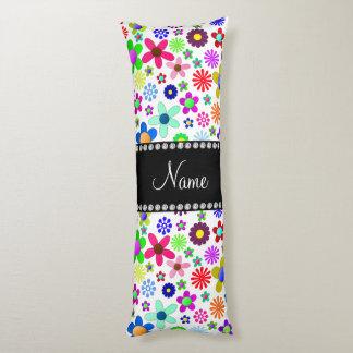 Name white transparent colorful retro flowers body pillow