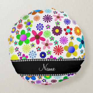 Name white transparent colorful retro flowers round pillow
