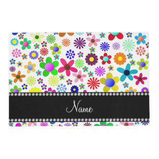 Name white transparent colorful retro flowers laminated placemat