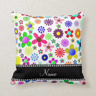 Name white transparent colorful retro flowers throw pillows