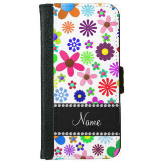 Name white transparent colorful retro flowers iPhone 6 wallet case