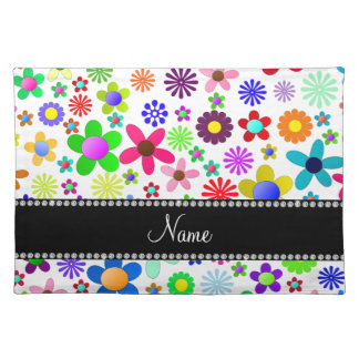 Name white transparent colorful retro flowers cloth placemat