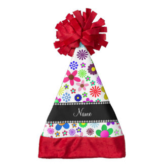 Name white transparent colorful retro flowers santa hat