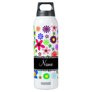 Name white transparent colorful retro flowers SIGG thermo 0.5L insulated bottle