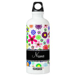 Name white transparent colorful retro flowers SIGG traveler 0.6L water bottle