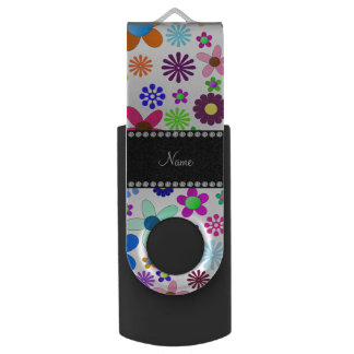 Name white transparent colorful retro flowers swivel USB 2.0 flash drive