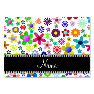 Name white transparent colorful retro flowers table cards