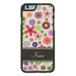 Name white transparent colorful retro flowers carved® maple iPhone 6 slim case