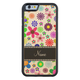 Name white transparent colorful retro flowers carved® maple iPhone 6 bumper