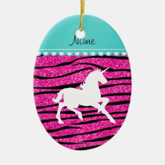 Name white unicorn hot pink glitter zebra stripes ceramic ornament